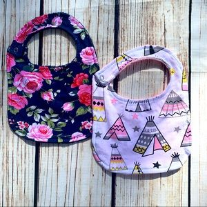 Set of two Minky backed boutique Bibs